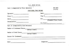 U.S. ASSAY OFFICE San Francisco 1978 PROOF COIN TRAY RECORD Blank Form PPD-USA