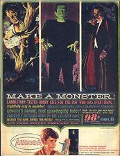 Vintage AURORA models Make a Monster replica ad fridge magnet - new!