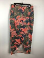 Kut From the Kloth Womens Wrap Skirt L Large Tropical Floral Long Maxi