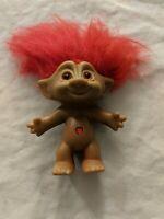 Vintage Russ Troll Doll Figure - Treasure Troll Jewel w/ Orange Hair