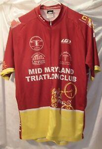 Louis Garneau Mid Maryland Triathlon Club Biking Cycling Shirt Jersey Mens Sz L