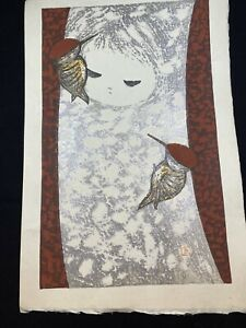 Kaoru Kawano (1915-1965) Woodblock Print Girl And Woodpecker