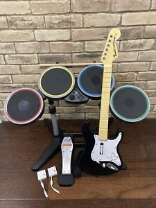 Nintendo Wii Rock Band Bundle | Wireless Drums & Guitar W/ Dongles!