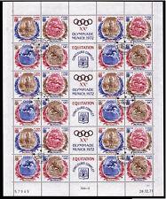 Monaco 1045-48, O,Olympiade Sommer 1972,kpl. Bogen mit 6 x Viererblocks/Zierfeld