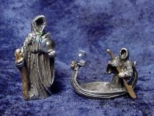 TWO Pewter GRIM REAPERS with Crystal Ball Accents