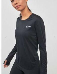Nike Women's Miler Long Sleeved Running Top Shirts AJ8128 010 Size L /  M