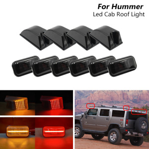 10x Smoked Led Cab Roof Marker Amber Red Top Light For Hummer H2 / Sut 2003-2009