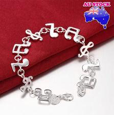Women's 925 SterlingSilver Filled Note Musical Music Symbol Charm Bracelet Chain