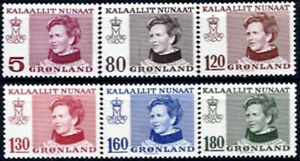Greenland 1978 - 79 Queen Margrethe definitive set of 6 UNM / MNH