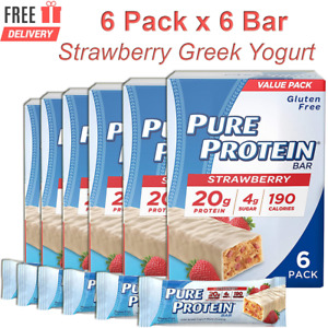 Pure Protein Bars, Strawberry Greek Yogurt, 20g Protein, 6 Pack x 6 Bar