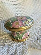 Halcyon Day Enamels Unique Floral Bouquet Basket Hinged Trinket /Pill Box Chintz