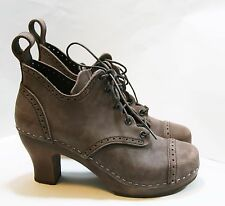 SWEDISH HASBEENS SHOES 1910 LACE UP CLOG BOOTIES BROWN NUBUCK LEATHER 36 $389