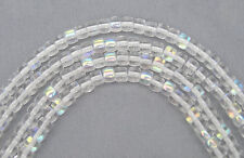 51 Czech Glass Druk Beads 4x5mm Crystal AB Pressed Chunky Spacer Clear AB P205