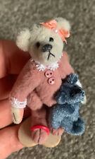 "Lot 2 Miniature Little Wee Gem Bears Pink Pajama Bear Holding 1"" Blue Bear Jtd !"