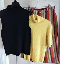 LOT CHICO'S multicolored striped LINEN cropped pant Yellow top Black shell S M