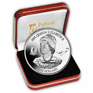 BVI 2016 90th Birthday Portrait from 1966 visit to bvi Proof Silver Coin
