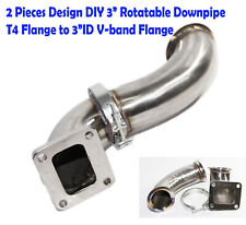 "2 Pieces 90 Degree SS Elbow Adapter Downpipe 3""ID 3.7""OD V-band to T4 Flange"