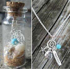 Silver Sand Dollar Starfish Beach Girl Charm Chain Necklace Glass Bottle Cork