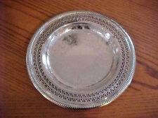 "International Silver Tray Pierced Platter Etched Scrolls Flowers 10-1/2"""