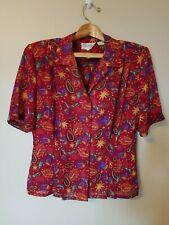 Vintage Shapely Button Front Short Sleeve Blouse Size 14 Top Fall Floral Career