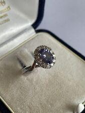 Vintage 925 Silver Amethyst & Cubic Zirconia  Dress Ring Size L 1/2 3.5 Gram