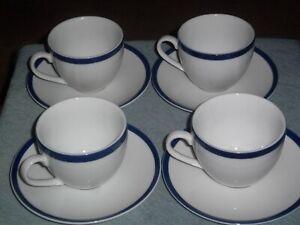 Williams-Sonoma BRASSERIE Blue 9oz Cup & Saucer Set 8 Pc Japan White Porcelain