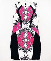 CUE Size 14 White Black Pink Floral Sleeveless Colourblock Business Sheath Dress