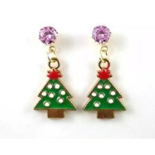 💋 Betsey Johnson Christmas Tree Pink Rhinestone Gold Plated 🇺🇸 US SELLER
