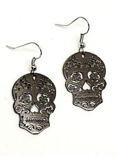 Mexican Sugar Candy Skull Hook Day of the Dead Earrings Large