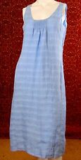 EILEEN FISHER blue linen sleeveless sheath dress PM (T25-03G7G)