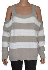 9768e404ce6 Romeo + Juliet Couture Women s Pullover Khaki Sweater Open Cold Shoulders  Size M