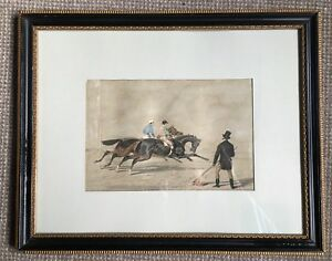 Doncaster Cup, Horse Racing, John Frederick Herring, Lithograph, 1850, Antique
