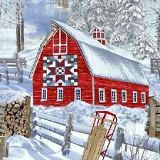 Winter Barn Scenic Snowfall cotton quilt fabric BTY Timeless Treasures Panel