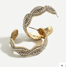 Nwt Sold Out! Authentic J.Crew Braided Pave Hoop Earrings!