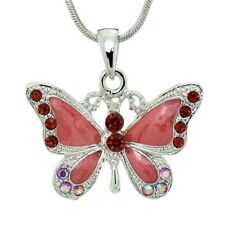 """BUTTERFLY Necklace Made With Swarovski Crystal Red Wings New Pendant 18"""" Chain"""