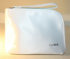 Creme de La Mer Logo Cosmetic Makeup Bag / Case White Satin Zipper