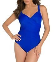 Miraclesuit Womens Must Haves Sanibel One Piece Swimsuit Blue 26824 Size 18