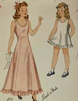 1940s Simplicity Vintage Sewing Pattern 4232 Girl Slip Dress Size 8