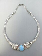 VINTAGE SILVER TONE CHINESE RED EYED FLYING WATER DRAGON CHOKER NECKLACE