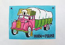 NICKY THOMAS - Horn please. Handsigniertes und -koloriertes Stencil (2014).