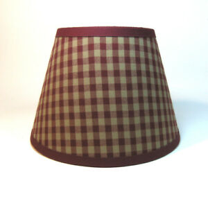 Country Primitive Burgundy Medium Check Homespun Fabric Lampshade Lamp Shade