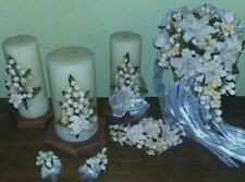 Cascading White Lilies Clay Bridal Bouquet, Candles, Accessories 10 Pieces