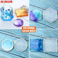 Coaster Resin Casting Mold Silicone Jewelry Agate Making DIY Mould Tool Craft AU