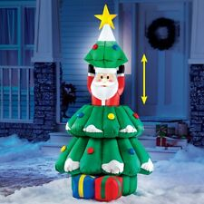 Hide and Seek Santa Claus In Christmas Tree Lighted Outdoor Airblown Inflatable