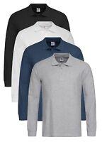 Stedman Cotton Plain BLACK BLUE GREY OR WHITE Long Sleeve Top Polo Shirt No Logo