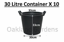 10 X 30 LITRE PLANT TREE POT WITH HANDLES HEAVY DUTY 30L LT BIG LARGE PLASTIC