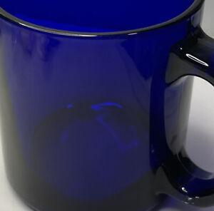 VINTAGE 12 GLASS COBALT Deep BLUE COFFEE MUG CUP MADE IN USA-Heavy