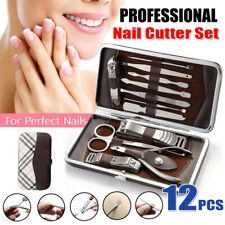 12X Manicure Pedicure Nail Care Set Cutter Cuticle Clippers Kit Case Stainless