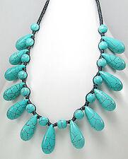 "20"" Turquoise Drop Cleopatra Necklace Chocker Stylish Statement Piece"
