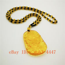 Natural Yellow Crystal Dragon Amulet Pendant Lucky Chinese Chain Necklace Hot